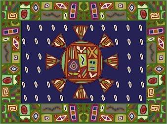 Carpet African Folk Art Needlepoint Canvas (af1-2)