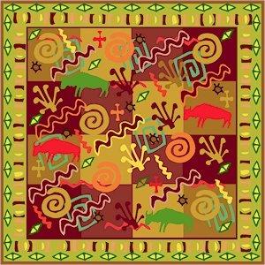 Collage Cushion African Folk Art Needlepoint Canvas (af1-17)