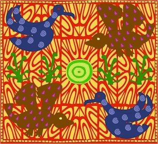 Birds African Folk Art Needlepoint Canvas (af1-11)