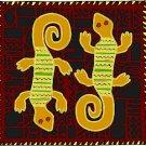 Lizards African Folk Art Needlepoint Canvas (af1-10)