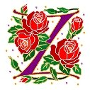 Initial Letter Z Style Rosette Needlepoint Canvas (ar7-ros-z)