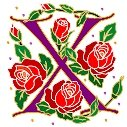 Initial Letter X Style Rosette Needlepoint Canvas (ar7-ros-x)