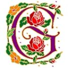 Initial Letter G Style Rosette Needlepoint Canvas (ar7-ros-g)