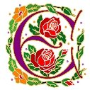 Initial Letter E Style Rosette Needlepoint Canvas (ar7-ros-e)