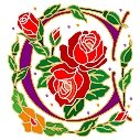 Initial Letter C Style Rosette Needlepoint Canvas (ar7-ros-c)