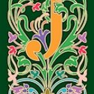 Initial Letter J Style Victorian Needlepoint Canvas (ar7-vic-j)