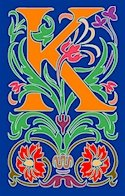 Initial Letter K Style Victorian Needlepoint Canvas (ar7-vic-k)