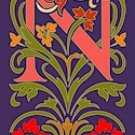 Initial Letter N Style Victorian Needlepoint Canvas (ar7-vic-n)