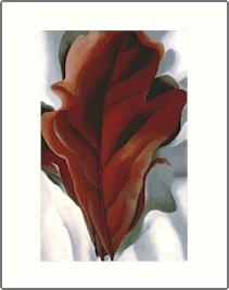 Georgia O'Keeffe Large Red Leaf Needlepoint Design by Lena Lawson (ok-33)
