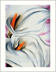 Georgia O'Keeffe Two White Lilies on Pink Needlepoint Design by Lena Lawson (ok-67)