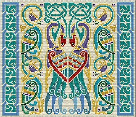 Celtic Peacocks Cushion Needlepoint Canvas (cb-celtic-04-c)
