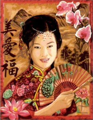 Needlepoint Canvas by Royal Paris Jade La Fille d'Asie (royal_paris_142-425)