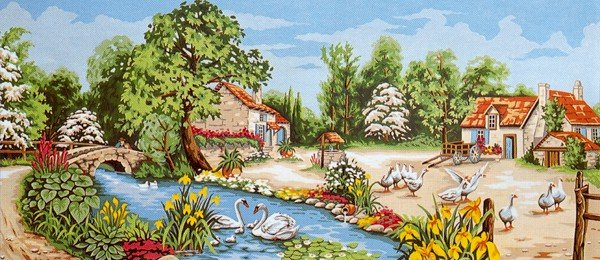 Needlepoint Canvas by Margot La riviere aux iris (margot-173-3095)