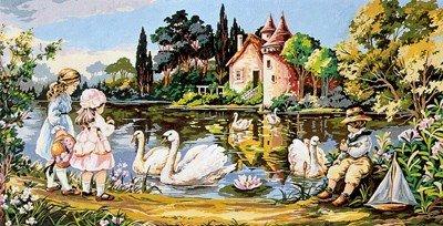 Needlepoint Canvas by SEG Le manoir des cygnes (seg-932-88)