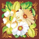 Russian Floral Folk Art Needlepoint Canvas Daisies