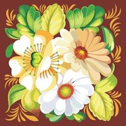 Russian Floral Folk Art Needlepoint Canvas Daisies
