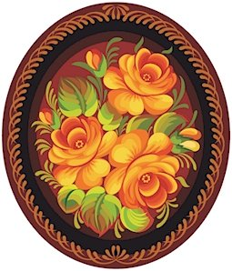 Russian Floral Folk Art Needlepoint Canvas Orange Roses Oval