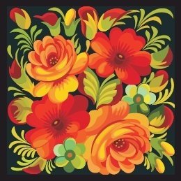 Russian Floral Folk Art Needlepoint Canvas Roses and Poppies