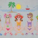 Needlepoint Canvas by Janet Watson Five Girlfriends At The Beach  (fdp-JW-114