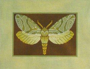 Needlepoint Canvas by Janet Watson Alder Root Moth  (fdp-JW-122