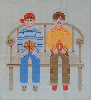 Needlepoint Canvas by Janet Watson Two Buddies Basketball & Football (fdp-JW-123)