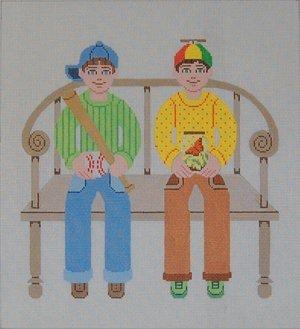 Needlepoint Canvas by Janet Watson Two Buddies Baseball & Butterfly  (fdp-JW-124)