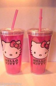 Lot 2 Zak Design Hello Kitty 16 Oz Tumbler with Straw NEW