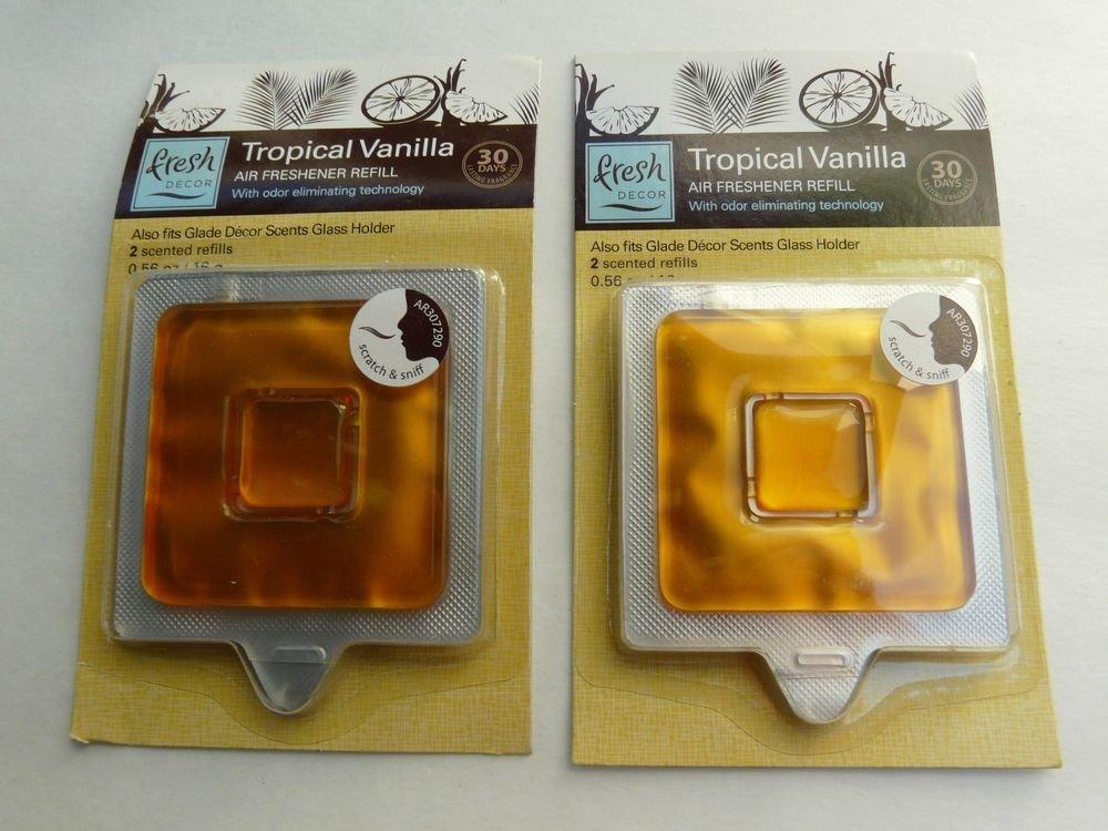 LOT 2 Packs Fresh Decor Air Freshener  +2 ea.=4  REFILLS TROPICAL VANILLA  New