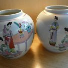 Pair Vintage  Japan Ginger Jar Hand Painted Girls and Boys