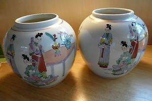 Pair Vintage  Japan Ginger Jar Hand Painted Girls and Boys
