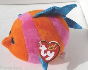 NEW TY - Beanie Ballz Splashy Orange/Pink Fish Regular Plush