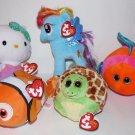 Lot 5  NEW TY Beanie  Babies, Zoom, Splashy, My Little Pony, Mermaid and Sparkle