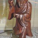 Vintage carved wood Chinese old man/fisherman;1900-1940