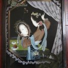 Antique Chinese Portrait Reverse~Eglomise Painting on Glass Young Girl-Mirror .