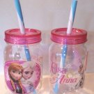 LOT 2 Zak Frozen Elsa Anna and Olaf  Mason Jar Tumbler w Straw BPA Free 19 oz