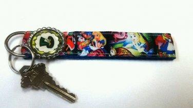 Alice in Wonderland key Chain FOB - Mad Hatter wristlet - Cheshire cat lanyard