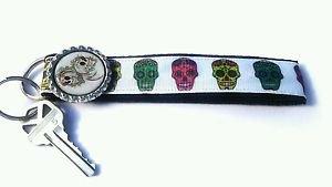 Sugar Skull Key Chain FOB - Sugar Skull Lanyard - Skull Key fob - Skull key fob