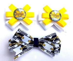 Set of  3 Michigan Wolverines Hair Bows - U of M Hair clips