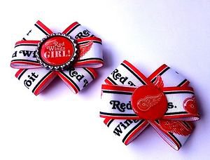 Set of 2 Red Wings Hair Bows - Detroit Hockey Bows - Set of 2 Handmade