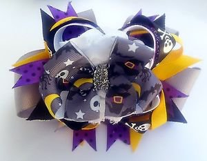 Witch Ghost Stacked hair Bow - Halloween Over the Top Grosgrain Ribbon Handmade