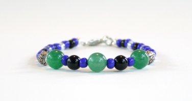 Jade and Obsidian Beaded Bracelet