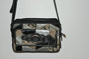 SOPHIA CAPERELLI black, silver handbag. 51% leather LOTS OF POCKETS 24'', 3'' 6""