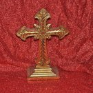 Carved Golden Tone Scupture Holy Cross Table Home Decor 13 1/2''tall Mixed