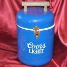 "Vintage Original Coors Light Metal Cooler Blue with Wooden Handle 17"" X 9"""