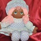 "Black Americana Rag Doll 17"" Pink Hair Baby Blue Poke a Dot Dress"