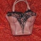 Female Torso Pink and Black Lace Purse