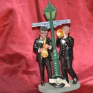 Black Saxaphone & Trumpt Player New Orleans Jazz Bourbon Street Light Figurine