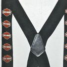 Harley-Davidson® Men's Bar & Shield Suspenders, Black/Orange. Elastic & One Size