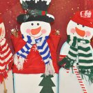 3 WOODEN HINGED SNOWMEN Christmas Character, Multi-Color, Waterproof and Wood