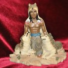 Indian with 2 Wolves fiqurine 7''Tall 6''Wide made of Resin Not Sure and